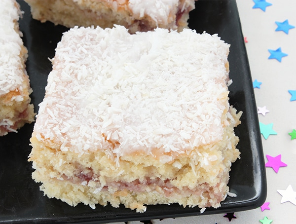 Sponge Cake With Jam And Coconut On Top